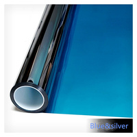HOHOFILM 1.52x10m Blue&Silver Mirrored Window Film Heat Reduction Stickers Solar Tint Reflective House Sticker 60''x33ft