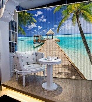 beach curtains Nature personality style alley photo print 3d curtain Mediterranean Garden Door curtain