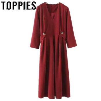 3065f5f211f0a5d 2019 женское платье с v-образным вырезом Бордовое платье А-силуэта Ретро  винтажное длинное