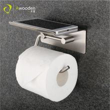 Awooden mounted shelf paper towel holder with phone 304 stainless steel swivel adjustable toilet tissue roll