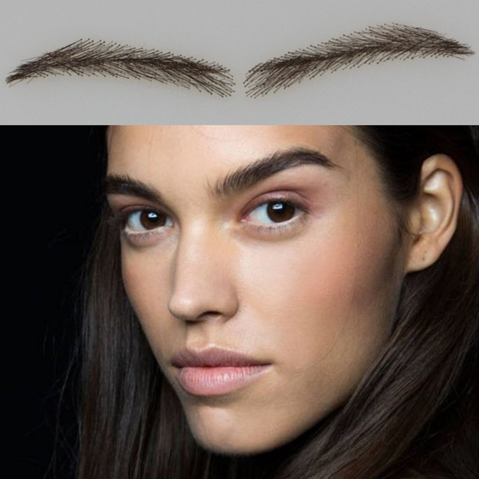 2017 Long-lasting Rushed Sobrancelha 004 Free Shipping False Eyebrows With Eyebrow Top/ Human Hair ,100% Hand Made Brow With women style 100% human hair false eyebrows with lace nature looking brown color handmade eyebrow extension