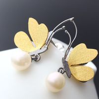 925 Sterling Silver with plated natural pearl earrings