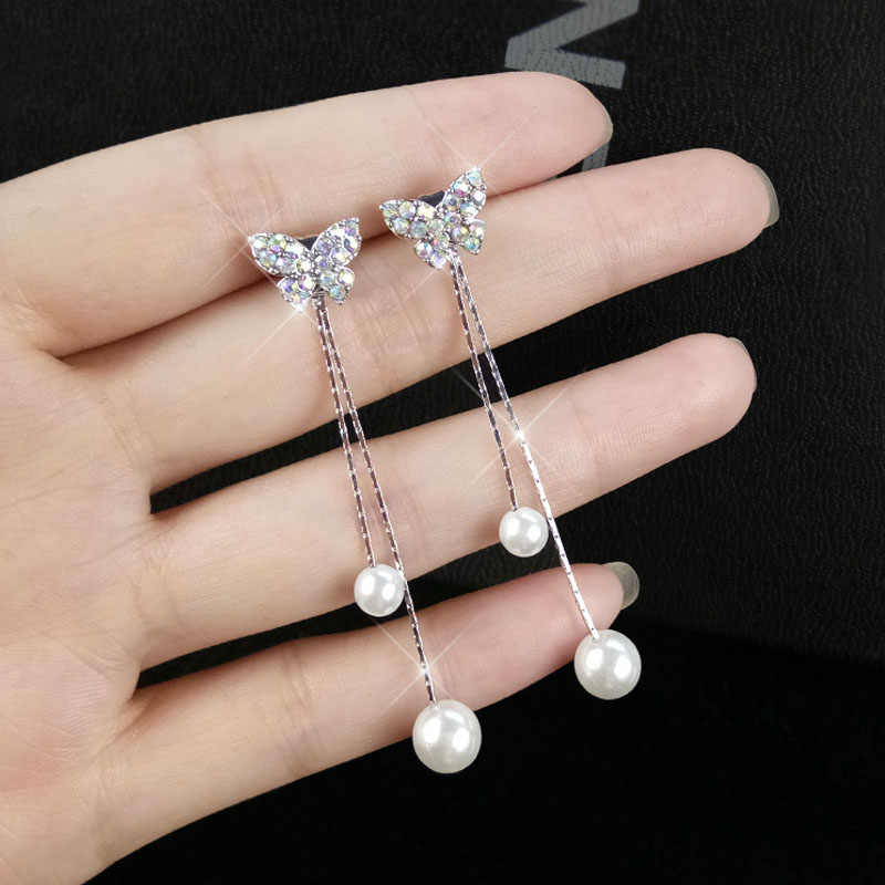 2019 new fashion exquisite bow tassel earrings temperament personality wild high quality pearl female earrings