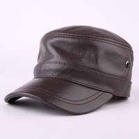 2018 Korean Style Winter Leather Flat Cap 100% Genuine Leather Peak Baseball Cap Hip Hop Hats Men's Winter Warm Hat B 7190