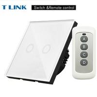 TLINK EU Standard 2 Gang 1 Way Light Touch Switch Waterproof Glass Panel Wall Sensor Switch
