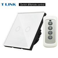 TLINK EU Standard 2 Gang Light Touch Switch Waterproof Glass Panel Wall Sensor Switch