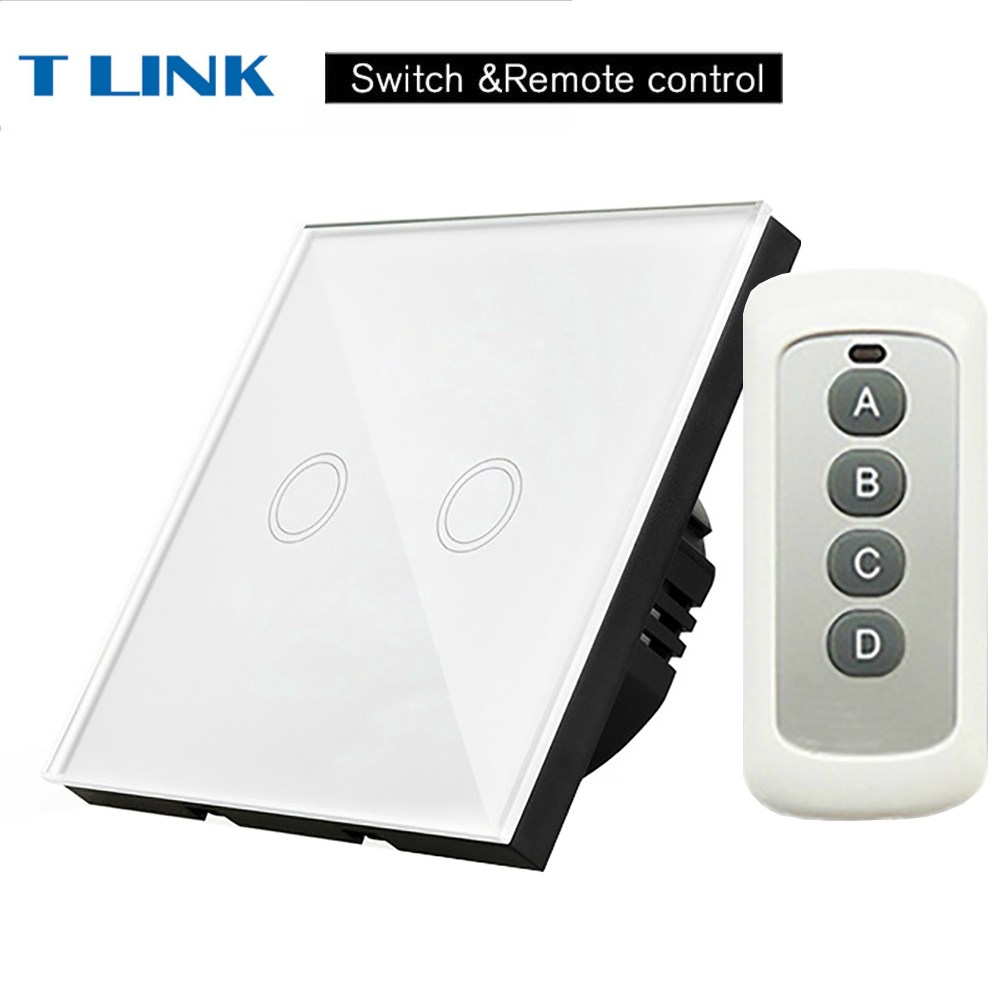 TLINK EU Standard 2 gang 1 way Light Touch Switch Waterproof Glass Panel Wall Sensor Switch Remote controller smart home eu standard 1 gang 2 way light wall touch switch crystal glass panel waterproof and fireproof