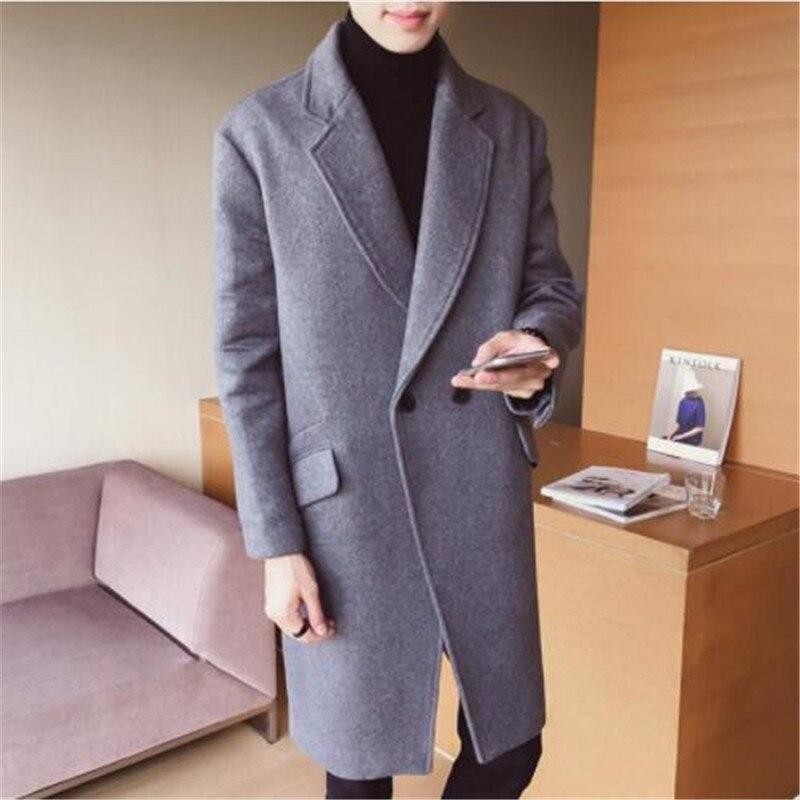 2018 nouveau produit mode mâle haute qualité couleur pure long manteau en laine/hommes confortables respirer librement Trench coat