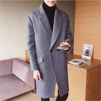 2018 new product fashion male high grade pure color long Woolen cloth coat/men's Comfortable breathe freely Trench coat