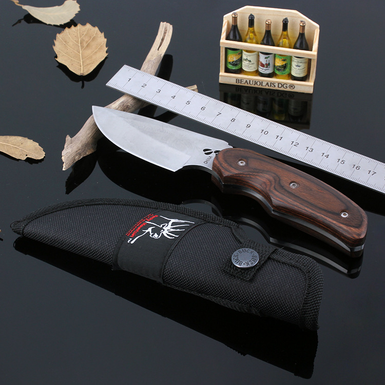 New Buck Camping tools Survival font b Knives b font Stainless Steel 7CR17MOV 58HRC Fixed Blade