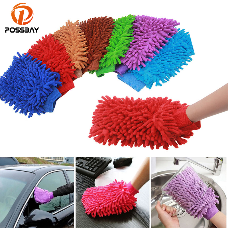 POSSBAY Supper Soft Absorbent Water Mitt Microfiber Dust Cleaning Washing Glove Brush Car Cleaning Glove Motorcycle Home Brush
