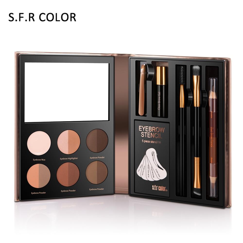 Waterproof Eyebrow Powder Henna Makeup Enhancer Brush Brow Stencil Kit Eye Brow Pencil Highlighter Set Paint Tool Wax Cosmetics цена