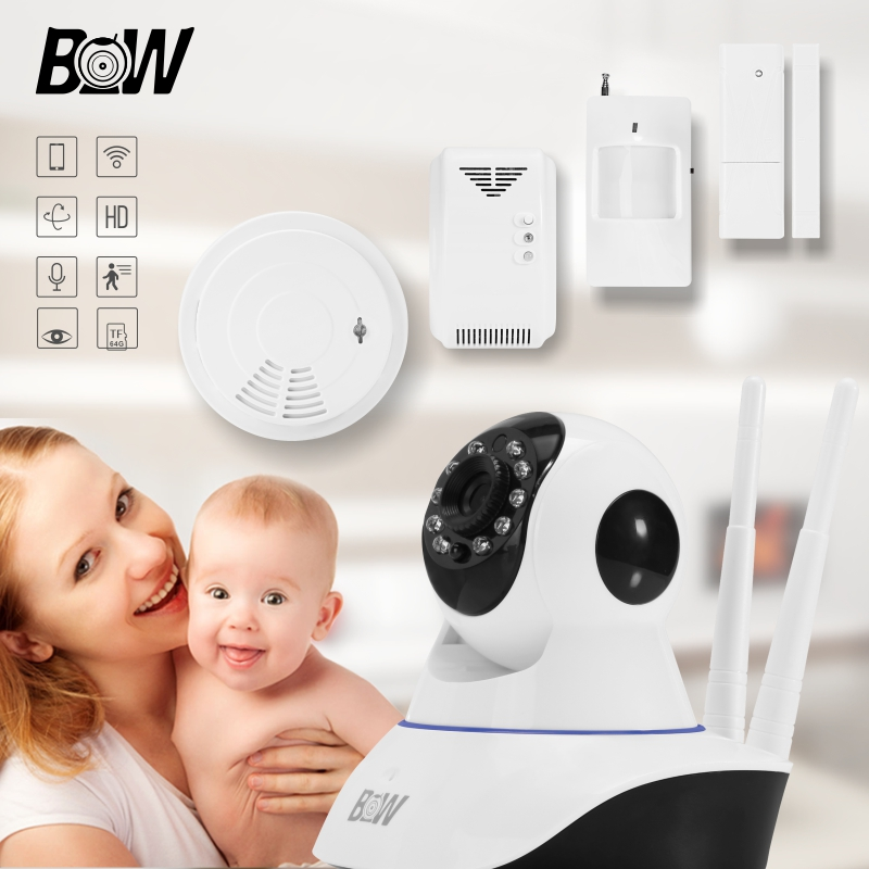 цена на Wireless Security IP Surveillance Camera Wifi HD 720P P2P Automatic Alarm P/T Infrared Motion/Door Sensor + Smoke/Gas Detector
