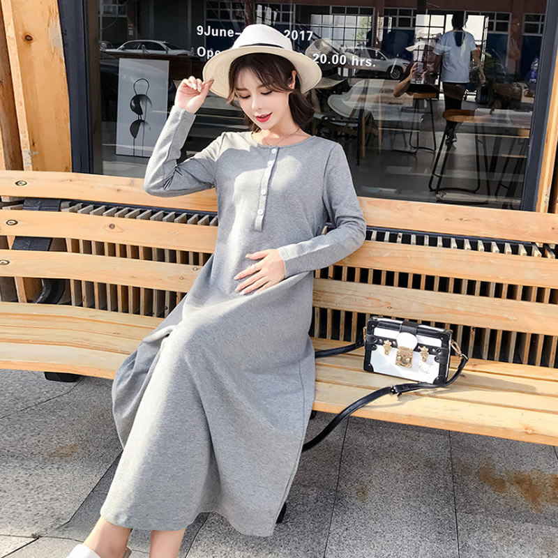 b4ad13edd Pregnant Maxi Dress Solid maternity clothes Nursing breastfeeding woman  outfits Long dresses for pregnancy women Autumn Spring - aliexpress.com -  imall.com