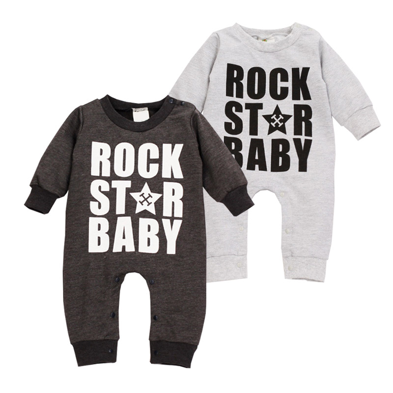 Infant Solid Rompers Spring Autumn Rock Star Letter Baby Costume Cotton Long Sleeve Coveralls O-Neck Infant Solid Rompers baby rompers o neck 100