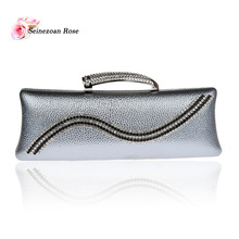 2016 New Fashion Women's Totes Handbags Ladies Evening Party Clutch Bags Women's Purse Small Messenger Bags Gray Siver Gold