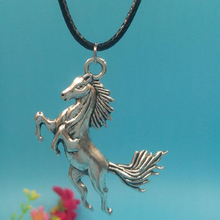 "30x43 mm Huge Horse Pendant Necklace With 18""Leather Chain Choker Collar Vintage Silver Charms Jewelry Christmas Gift"