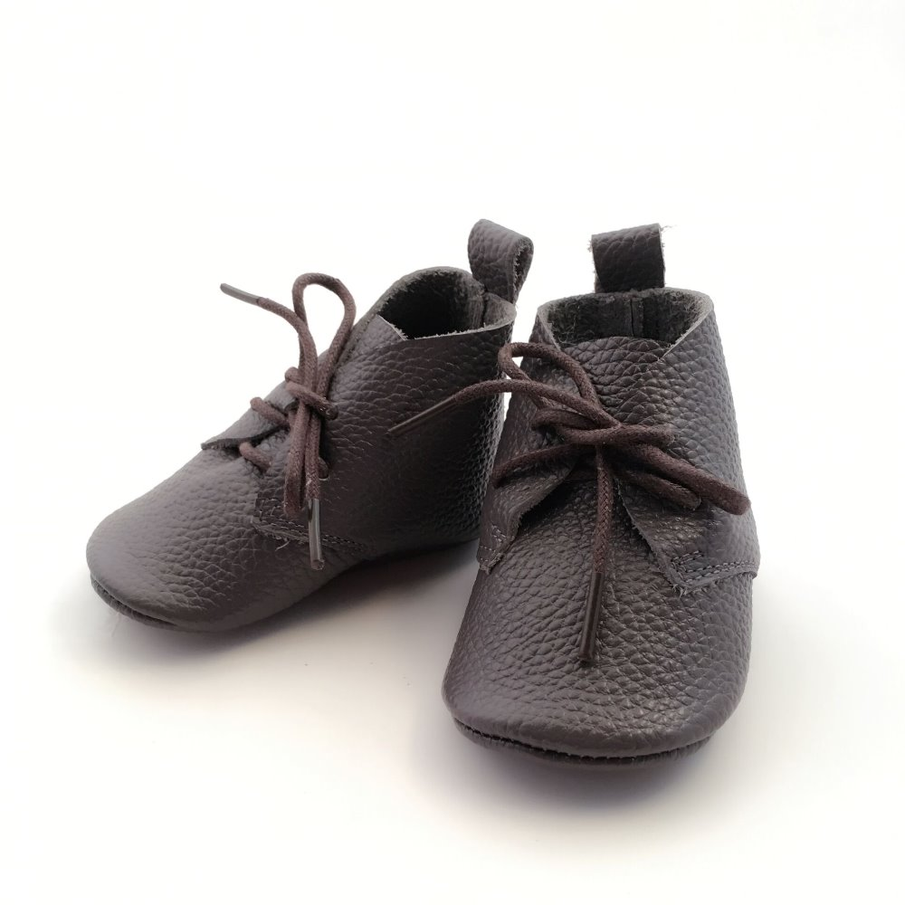 Baby dask gray Moccasins Genuiue Leather Baby Shoe