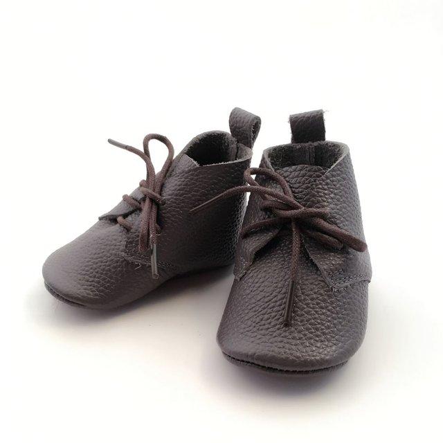 Bebé Bronce Genuiue Cuero Mocasines Zapato de Bebé