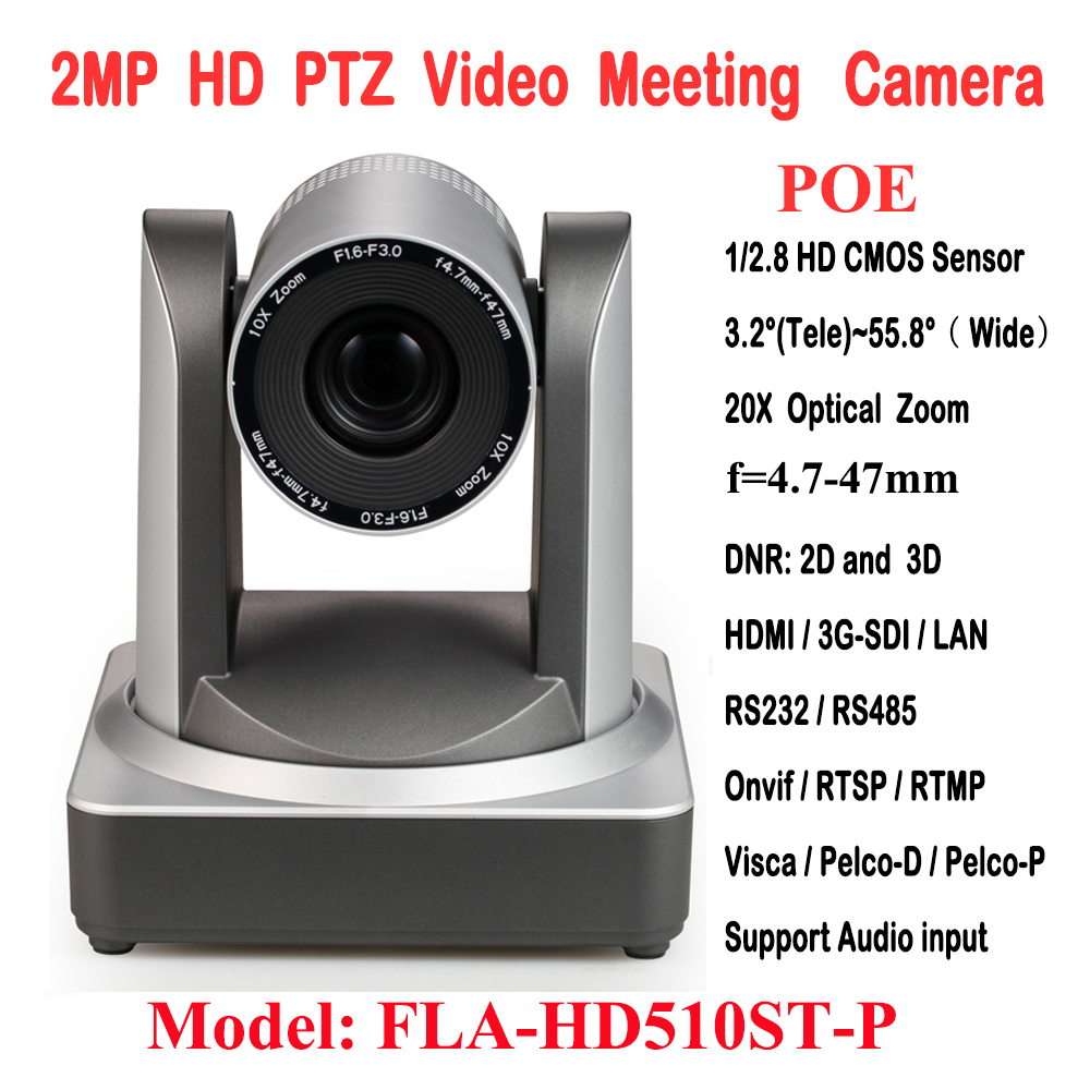 2MP 1080p60fps H.265 10x Optical Zoom video conference equipment Onvif PTZ POE IP Camera Rtsp RTMP with 3G-SDI HDMI Outputs image