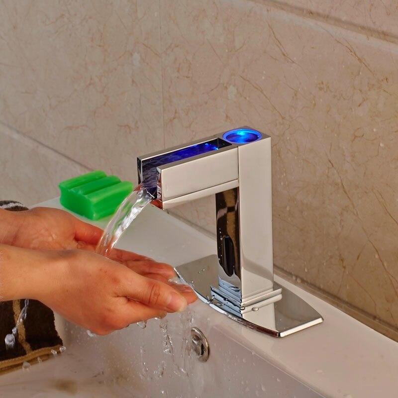 LED Light Brass Chrome Finish Automatic Sensor Basin Faucet Bathroom Vanity Sink Tap One Hole Mixer Tap luxury brass gold finish basin faucet bath vanity sink tap deck mount one hole mixer tap