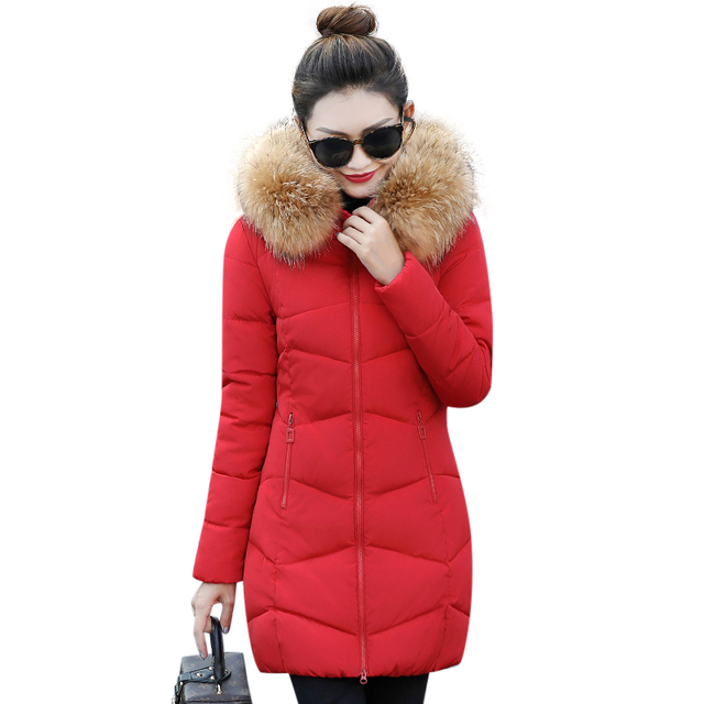Hot!2017 New Long Parkas Female Winter Coat Women Fake Fur Collar Winter Jacket Womens Outwear Parkas for Women Winter Outwear