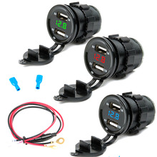 HOT DC 12/24V Dual USB Car Charger+LED Display Voltmeter Boat Cigarette lighter+Fuse Wire for Motorcycle Phone IPad Iphone Board