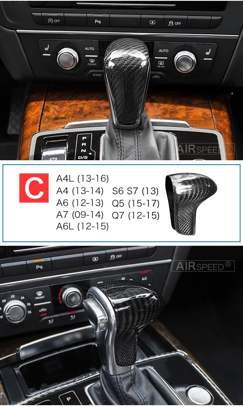 Carbon Fiber Gear Shift Knob Cover Head for Audi A4 B9 B7 A5 Q7 A3 S3 A4 B8 A5 C6 A6 C7 C6 S6 A7 S7 A8 Q5 Accessories (10)