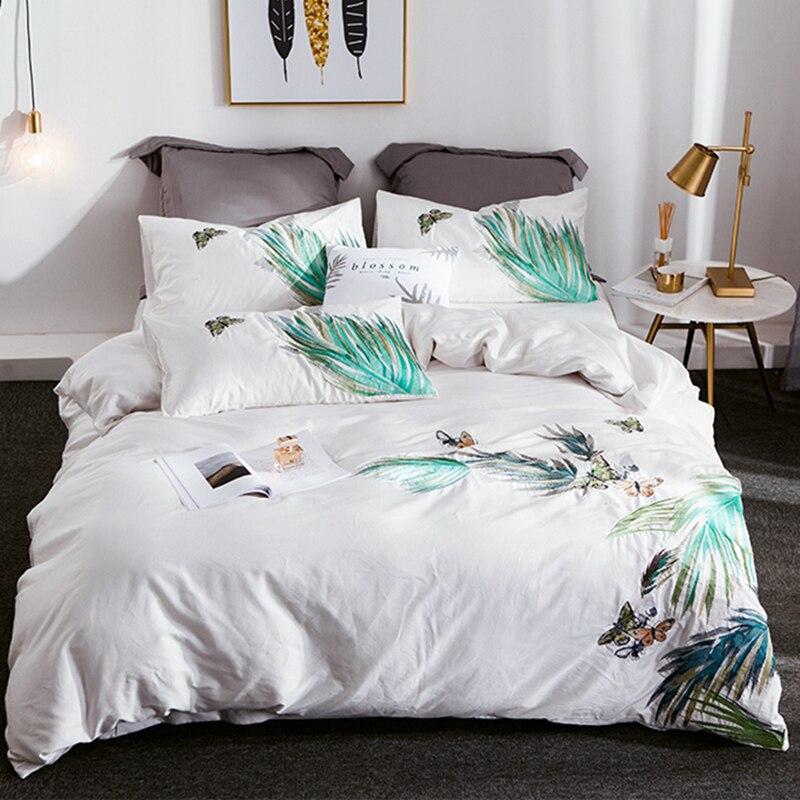 Luxe 600TC coton égyptien broderie blanc housse de couette drap de lit taies doreiller en lin Twin Queen King Size ensemble de literie # sw