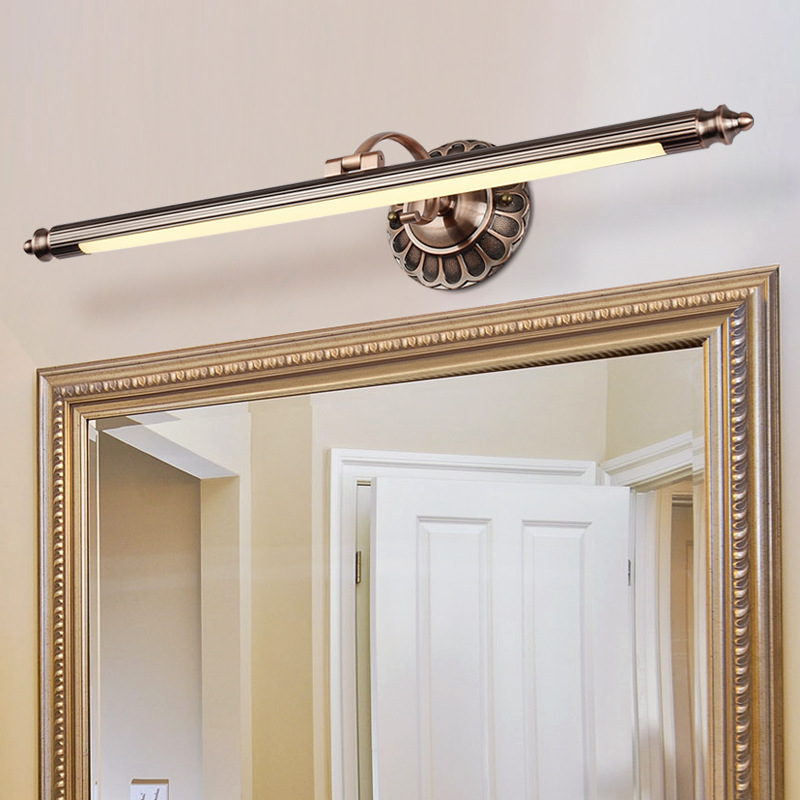 Traditional Brass LED Wall Lamps in Bathroom with Swing Arm 50CM 70CM 90CM Long over Mirrors Sconces Lights 110V / 220V AC