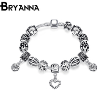 Bryanna Heart Silver Plated Crystal Heart Charm Bracelets& Bangles Beaded bracelet For Women Fashion personality Jewelry PDRH923