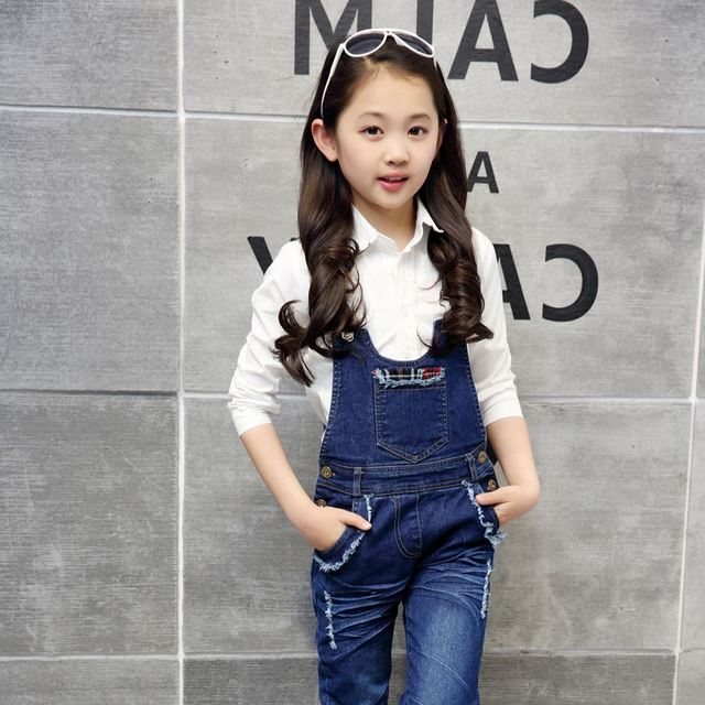 2018 new spring baby girls jumpsuit rompers autumn fashion washed jeans children denim romper suspenders trousers long pants