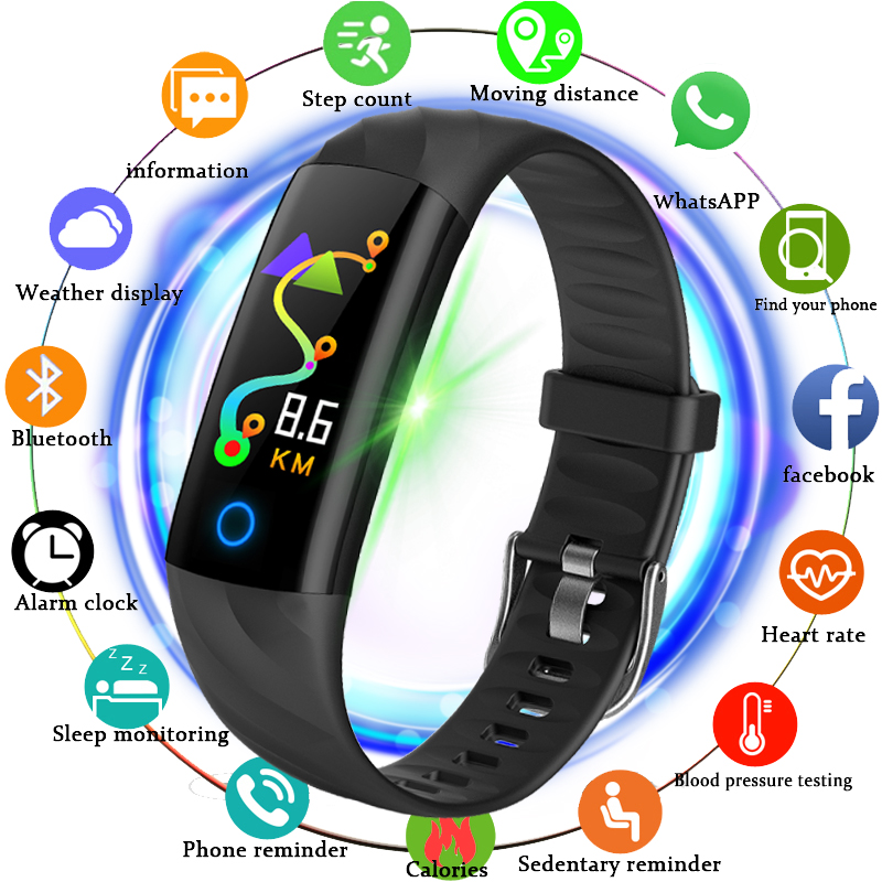 купить BANGWEI 2018 Smart Watch Men Smart Bracelet Blood Pressure Heart Rate Monitor Fitness Tracker Waterproof Pedometer Sport Watch по цене 1637.61 рублей