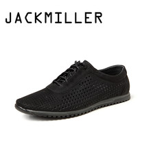 Jackmiller Top Brand Summer Men's Casual Shoes Color Black Lace-Up Breathable With Hole Flat Shoes Men Wear Resistant Sneakers(China)
