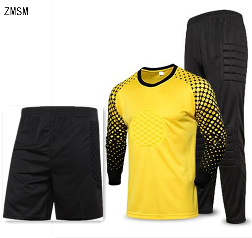 ZMSM Kids To Adult Soccer Goalkeeper Uniform Men Soccer Jerseys Sets Children Football Goalkeeper Doorkeepers Shirt Pants Shorts