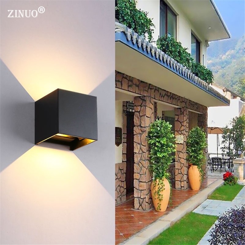 ZINUO Outdoor 6W 12W LED Wall Lamps Waterproof IP Cube Adjustable Surface Mounted Up Down LED Sconce For Garden Yard Wall Light gd 6w 12w wall lamp ip65 adjustable surface mounted led wall light outdoor wall sconce cob high brightness up and down wall lamp
