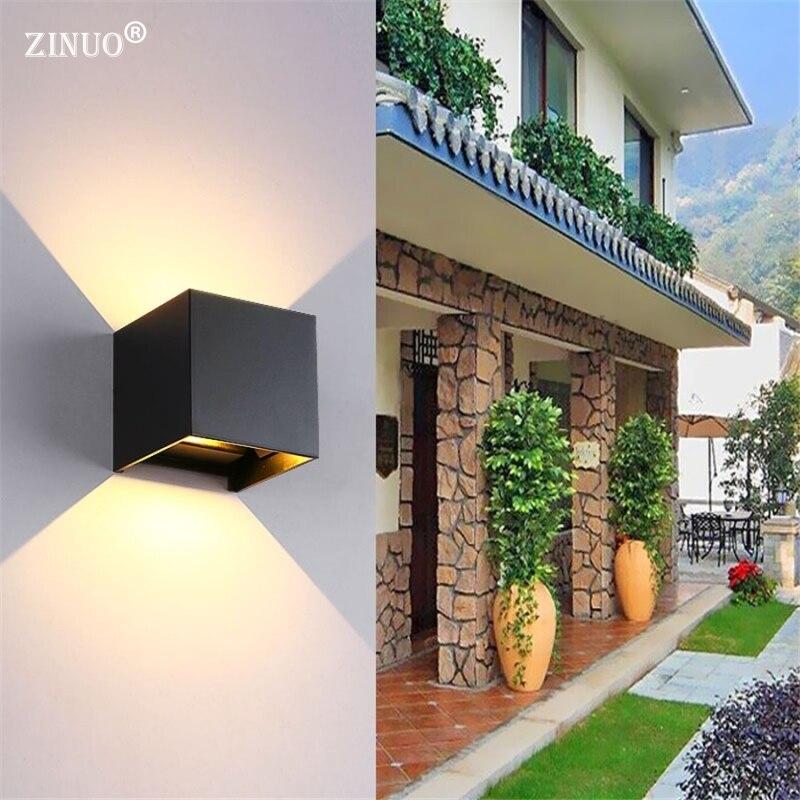 Zinuo открытый 6 Вт 12 Вт <font><b>LED</b></font> Настенные светильники Водонепроницаемый IP Cube Регулируемый поверхностного монтажа вверх Пух <font><b>LED</b></font> бра для сада двор нас&#8230;