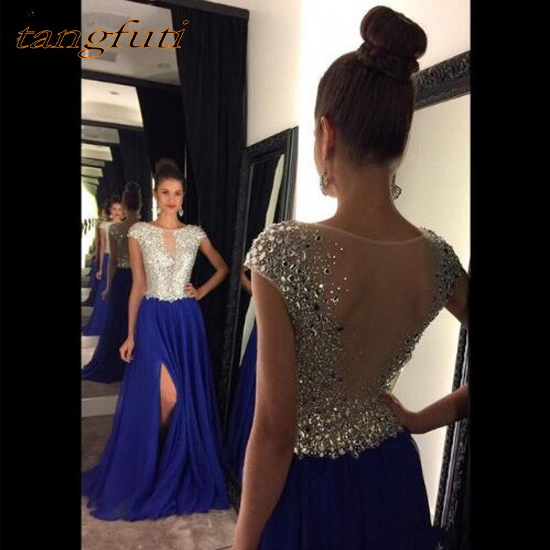 Royal blue Evening Dresses Long A Line Sheer Scoop Side Slit Beading Chiffon Prom Dress Women Party Formal Dress Evening Gown-in Evening Dresses from Weddings & Events    1