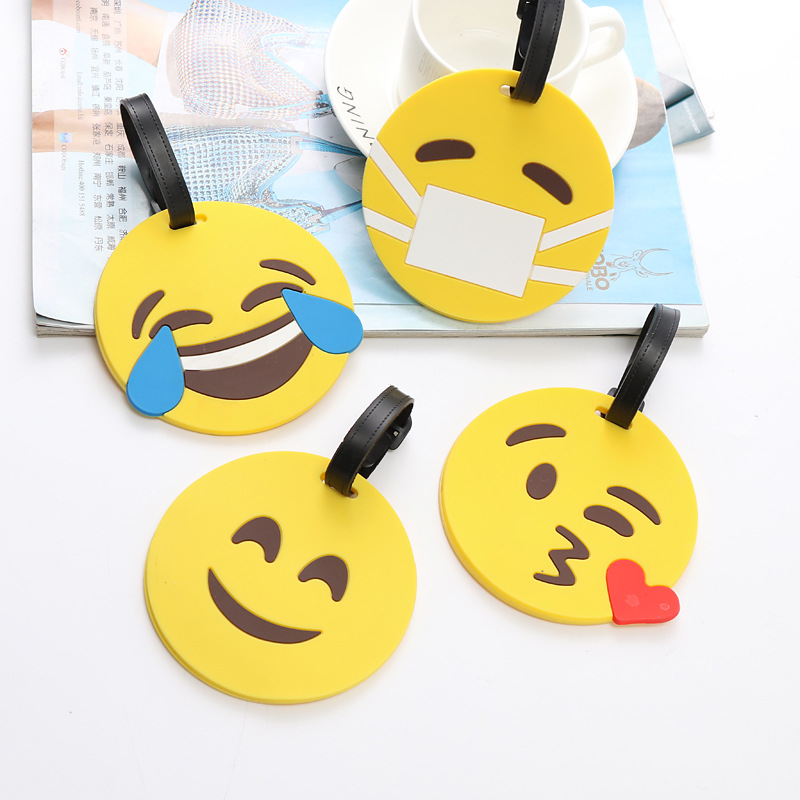 2018 Valiz Koffer Travel Accessories Edition Facial Expressions Environmental Pvc Luggage Tag Smiling Face Tags Various Style