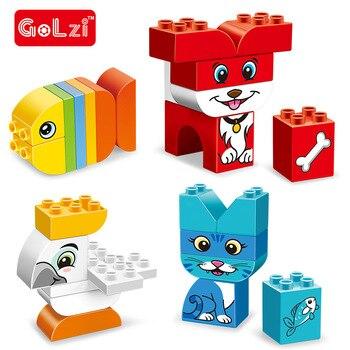 Игрушка-конструктор Duplo в виде животных, большие частицы, аксессуар для кирпича, утки, попугаи, кошки, рыбы, оленя, панды, слона, пингвина