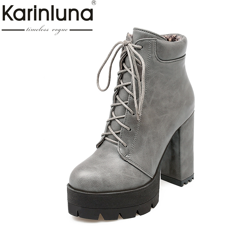 KARINLUNA 2018 Large Size 32-43 Platform Lace Up Women Shoes Woman Winter add plush Shoes Square High Heels Party Ankle Boots