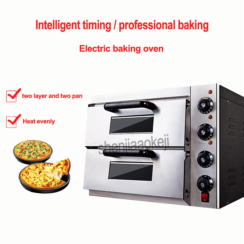Commercial thermometer Electric double pizza oven/mini baking oven/bread/cake toaster hot Plate Oven GQ-2PT 220v 3kw 1PC newest adults