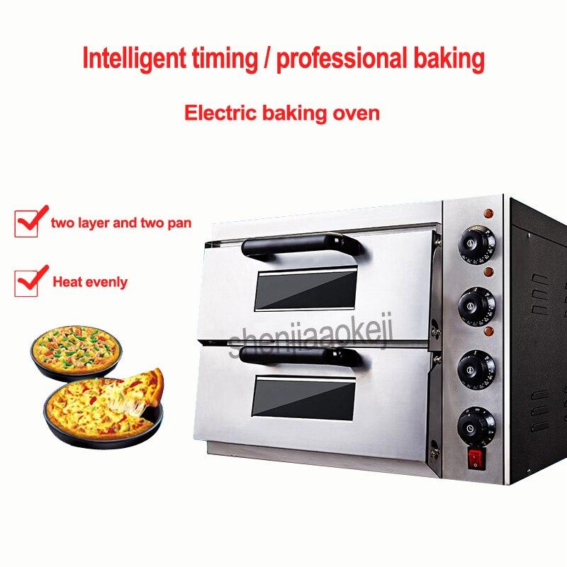 Thermomètre Commercial électrique double four à pizza/mini four de cuisson/pain/gâteau grille-pain plaque chauffante four WL002 220 v 3kw 1 PC
