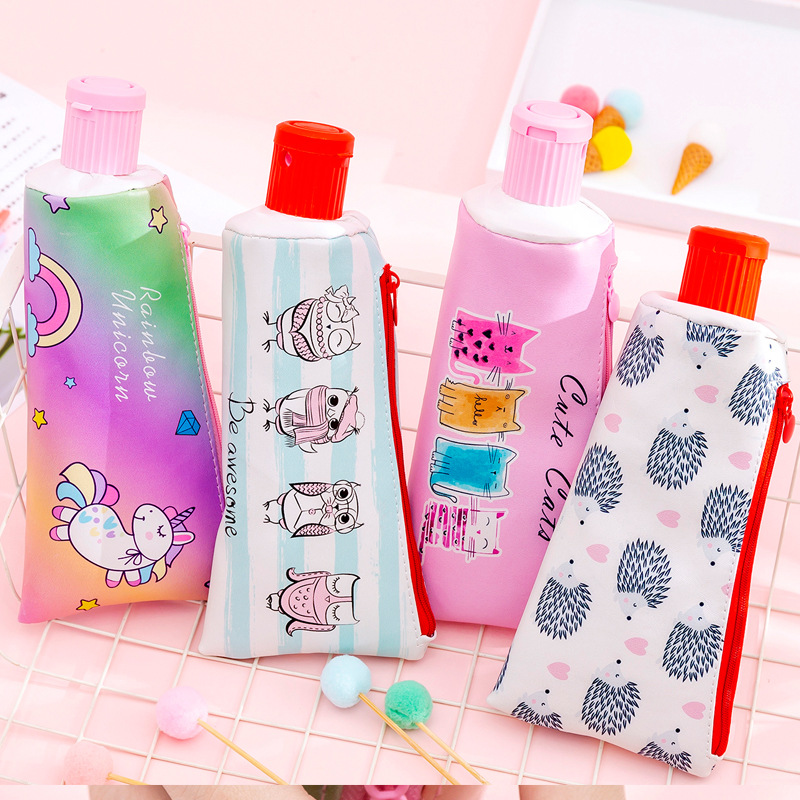 Creative Toothpaste Modeling Pencil Case Kawaii Animal Unicorn Owl Cat With Pencil Sharpener Pencils Bag Stationery Pouch School