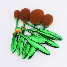 10PCS Green Toothbrush Shape Oval Makeup Brush Set MULTIPURPOSE Professional Foundation Powder Brush Cosmetic Kits With Box