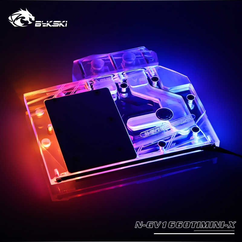 N-GV1660TIMINI-X bykski gpu block fit for Gigabyte RTX1660TI MINI ITX OC 6G  water cooling gpu cooler support connect motherboard