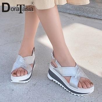 DORATASIA 2019 New Hot Sale Genuine Cow Leather Shoes Sandals Woman Summer Platform Woman Women Wedges Shoes Woman