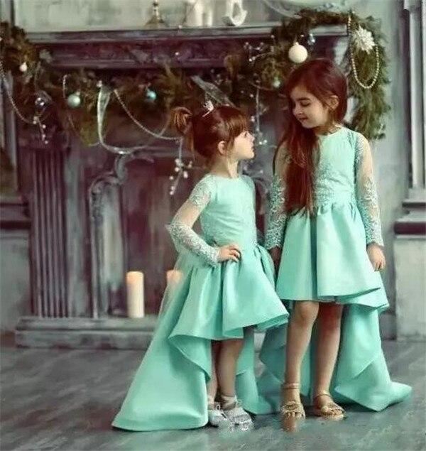민트 녹색 높은 낮은 여자 선발 대회 가운 레이스 긴 소매 꽃 소녀 드레스 웨딩 푹신한 키즈 영성체 드레스