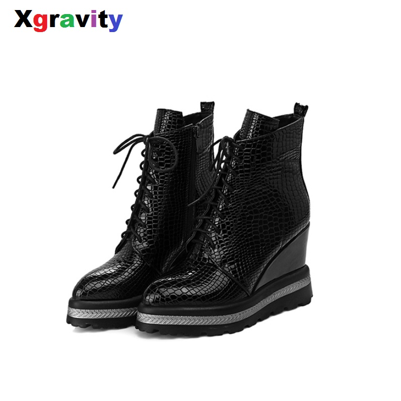 Xgravity Winter Warm Lady High Heel Pumps Round Toe High Heeled Wedge Boots Comfortable Woman's Casual Wedges Ankle Shoes S038 nayiduyun women genuine leather wedge high heel pumps platform creepers round toe slip on casual shoes boots wedge sneakers