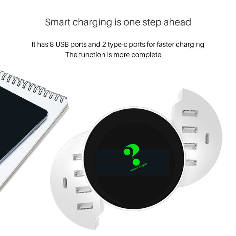 Multi Port USB Charger ประเภท C Fast Charger สมาร์ท LED โลโก้ Wall Travel HUB อะแดปเตอร์สำหรับ iPhone iPad samsung,xiaomi LG